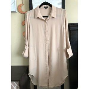 Monteau sheer oversized button-down shirt dress